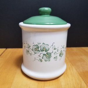 Corelle Callaway Tea Canister White Green Ivy Jay